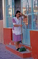 Mexico Woman Cleans Steps