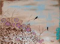 Friends Branches Trees Birds From Original Paintin