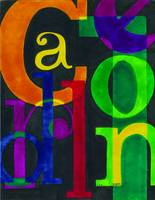Typographical jumble of colors and shape.