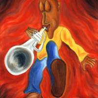 Boogie Fever, Whimsical Trumpet Player Art Art Prints & Posters by Joshua Matherne