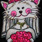 """Bride To Be Kitty with Black Background"" by LisaLorenz"