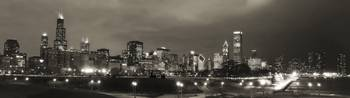 Chicago Skyline at Night (Panorama)