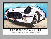 1955 Chevrolet Corvette White - Poster Gray Border