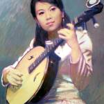 """Girl with Chinese Guitar"" by LiLianFineArt"