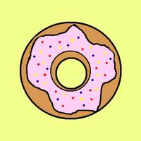 Pink donut with yellow background