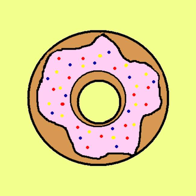 Background Food Pink Yellow Baked Donut Glazed Ring Gold Frame ...
