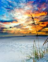 Colorful Red Orange Sunset White Sandy Beach Art