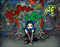 Urban Fairy Art:  Camouflage 1 - Graffiti