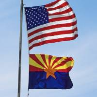 """Arizona and US Flags"" by Sally Kuyper"