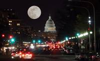 US Capitol Building at night with moon no-2