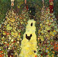 Gustav Klimt's Garden Path with Chickens