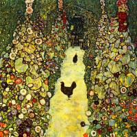 """Gustav Klimts Garden Path with Chickens"" by ArtLoversOnline"