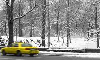 New York City Snow with yellow cab
