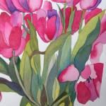 """""""Pink Tulips"""" by janporterfieldwatercolors"""