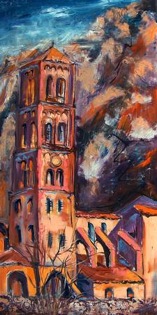 Bell Tower South of France Oil Painting Ginette Ca