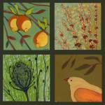 """Tangerine Bird Collage No 2"" by JENLO"