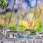 """""""boat marina abstract painting"""" by derekmccrea"""