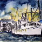 """""""tybee island boat georgia watercolor painting"""" by derekmccrea"""