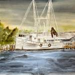 """brunswick harbor boat art painting watercolor"" by derekmccrea"