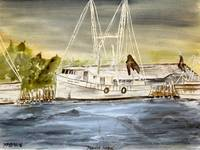 brunswick harbor boat art painting watercolor