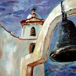 """Spanish Mission Bell Oil Painting by Ginette Calla"" by GinetteCallaway"