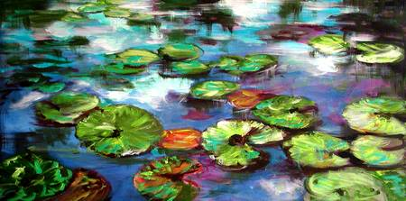 Sparkling Lily Pond Original Painting by Ginette
