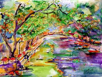 Annecy Canal France Original Painting By Ginette By