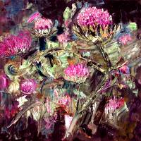 Thistles Impasto Oil Painting by Ginette Callaway