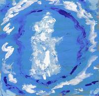 Angel Reading White on Blue