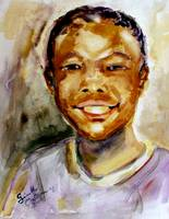 Cute Boy Smiling Watercolor Painting by Ginette Ca