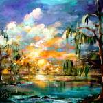 """Sunset Wetland Summer Clouds Landscape"" by GinetteCallaway"