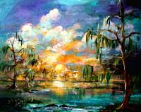 Sunset Wetland Summer Clouds Landscape