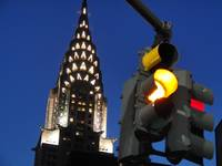 chrystler building & traffic light.