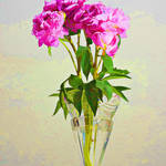 """Pink peony in crystal vase."" by LindaMatlow"