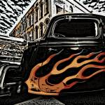 """Depot Town Hot Rods October2006 Woodcut crop"" by pi"