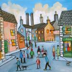 """Lowry style townscape by Gordon Bruce"" by GORDONBRUCEART"
