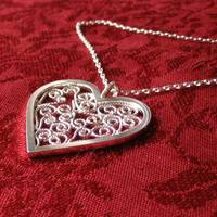 Sterling Filigree Heart Pendant