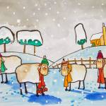 """SHEEP IN THE SNOW WATERCOLOUR By Gordon Bruce"" by GORDONBRUCEART"