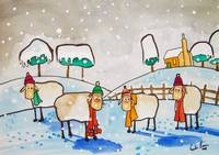 SHEEP IN THE SNOW WATERCOLOUR By Gordon Bruce