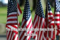 USA6 Flag Row Michelle O Strong Quote Large White