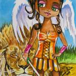 """THE LITTLE ANGEL OF COURAGE WATERCOLOUR"" by GORDONBRUCEART"