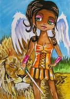 THE LITTLE ANGEL OF COURAGE WATERCOLOUR