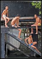 Four Boys on Bridge