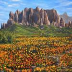 """Superstition Mountains With Wildflowers"" by DavisGalleries"