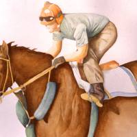 RaceHorse WaterColor Art Prints & Posters by Roseann Riggi-Knudson