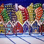 """""""City Neighborhood In Winter"""" by reniebritenbucher"""