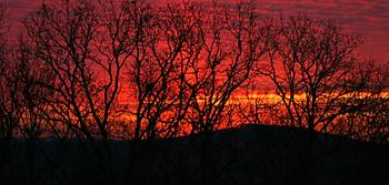 Red Sunrise Over the Ozarks