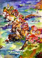 Vernazza Italy Trail View Watercolor