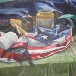 """AMERICAN FLAG STILL LIFE OIL PAINTING"" by GORDONBRUCEART"