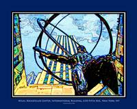Atlas, Rockefeller Center, Color, Blue Border